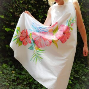 Tropical flowers hand painted long cotton dress
