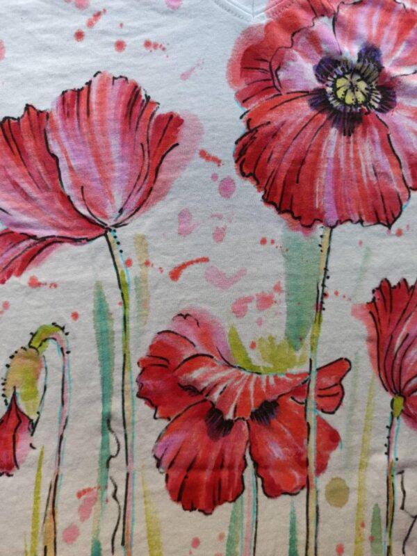 Big Red poppies white cotton v-neck t-shirt with original design.