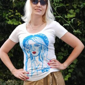 Blue girl hand painted round neck cotton t-shirt. Original author's painting.
