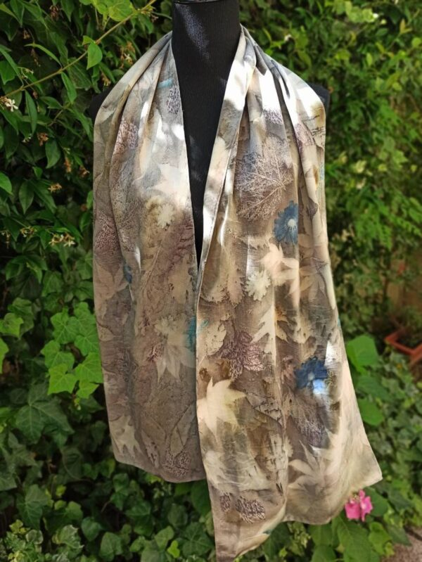 Grey elegance. Botanical print 100% silk scarf. Hand dyed with natural dyes and imprinted with leaves. Delicate colours from nature for her.