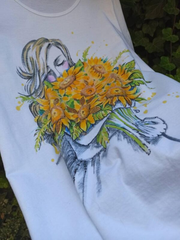 A girl with sunflowers bouquet hand painted white cotton t-shirt.