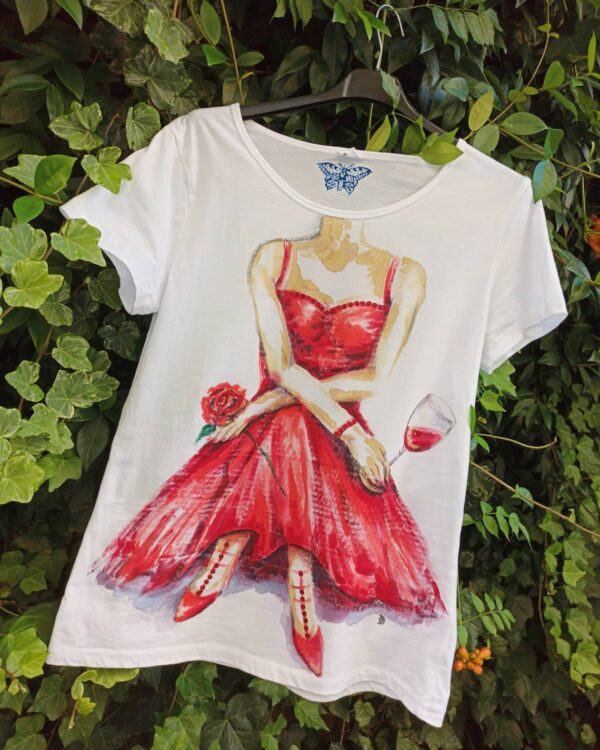 Lady in red hand painted cotton t-shirt