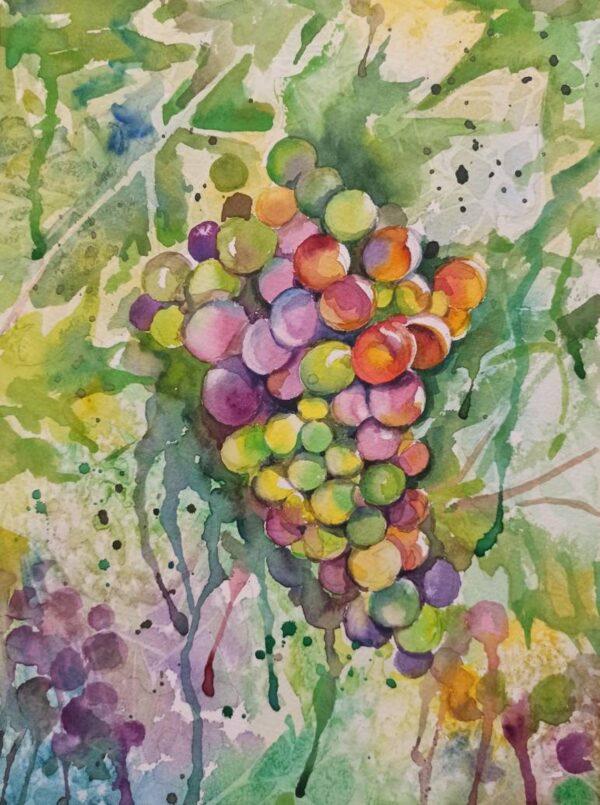 Grape watercolor painting, original painting, fruit, kitchen decor