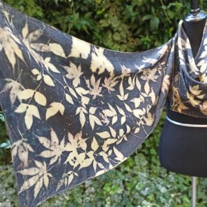 Elegant black ecoprint 100% silk scarf. Leaves and plants impressed on fabric. Ecoprinting and natural dyeing.