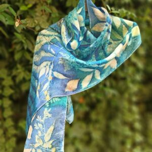 Blue Forest. Hand dyed 100% silk scarf with botanical print. Leaves and plants impressed on fabric. Original colourful accessory.