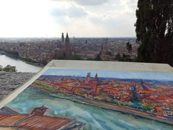 Panoramic view of Verona from castel San Pietro. Original watercolour painting.