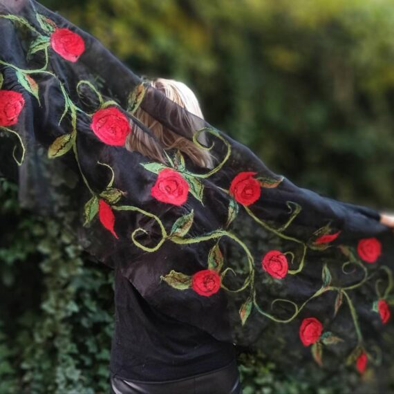 Red and black wetfelted silk organza and merino wool decor stole. Elegant accessory to define simple outfit. Best gift for women.
