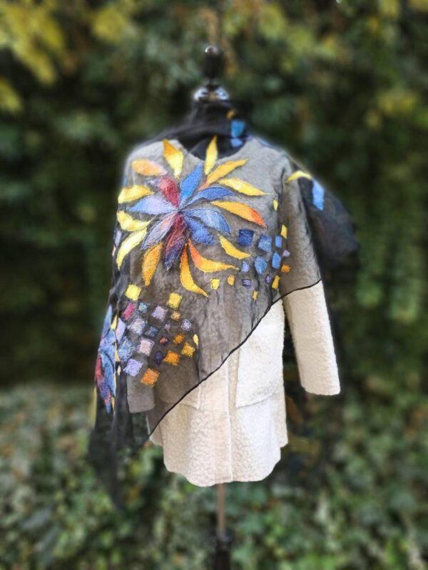 Autumn blues nunofelt silk organza and Merino wool scarf. Elegance of black organza and Merino wool fibers. Original accessory.