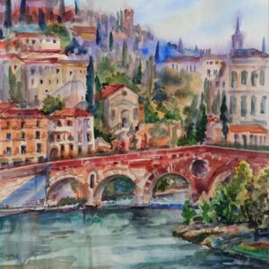 The Stone Bridge Verona original watercolour painting.
