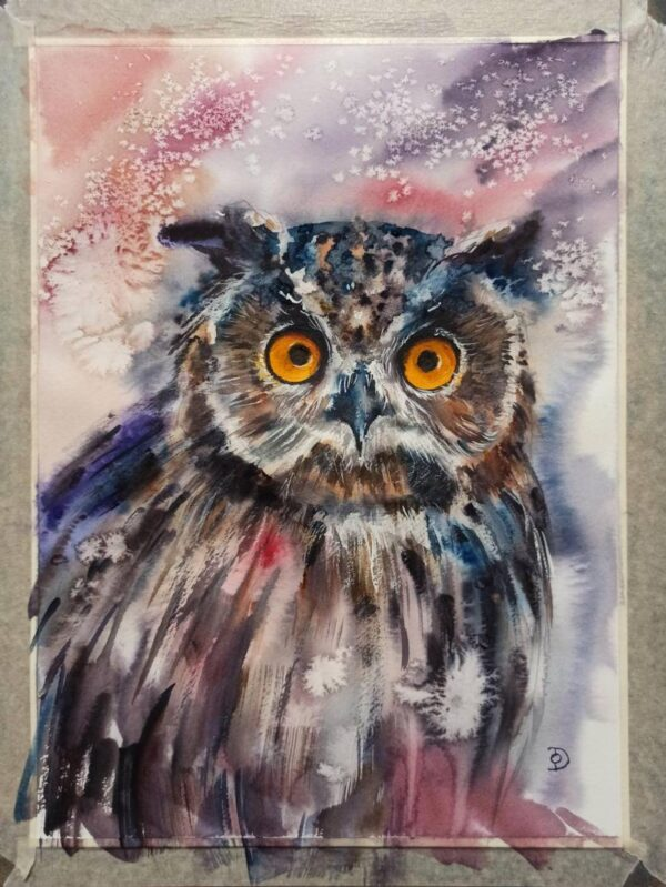 Snow owl portrait original watercolor painting