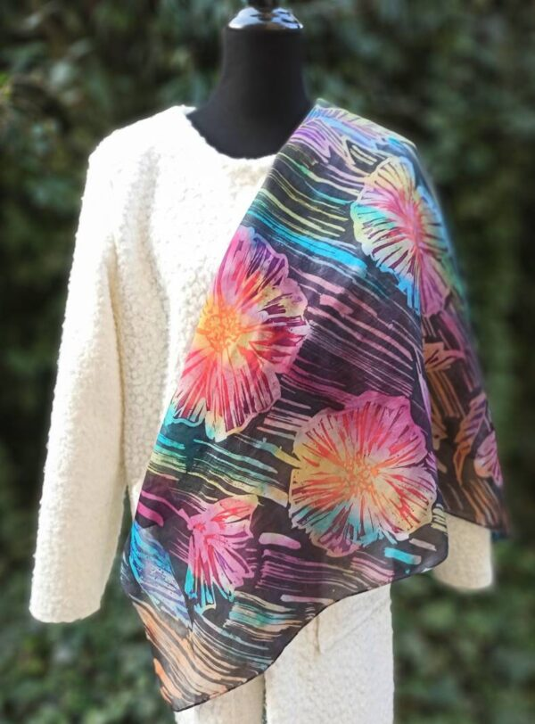 Bright rainbow flowers hand painted 100% silk square scarf