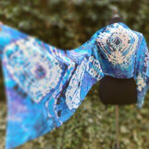 The winter sea classic blue shibori tie dye hand dyed long silk scarf.