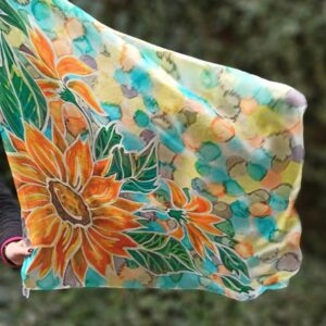 Bright sunflowers hand painted silk square 90x 90cm scarf. Authentic author's painting. Original women's colourful accessory. Gift for her.