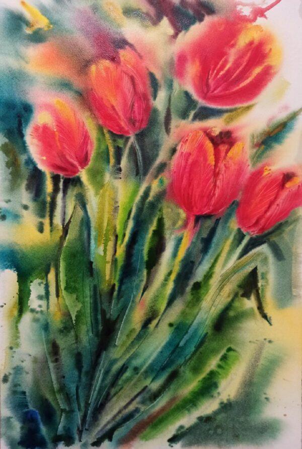 Red Tulips original watercolour painting