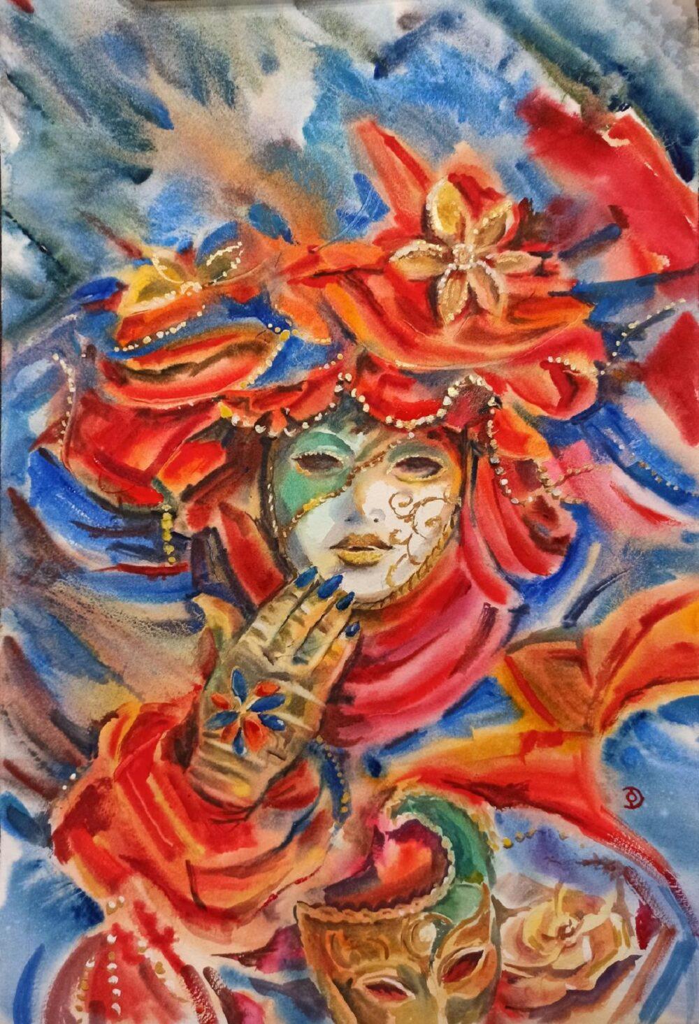 Red Venetian Mask original watercolour