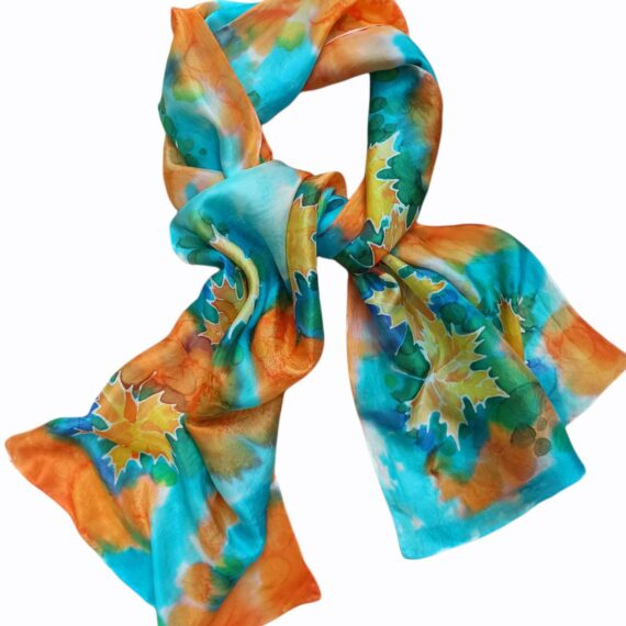 Autumn foliage hand painted 100% silk scarf with leaves fantasy